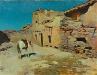 pueblo at night by frank tenney johnson