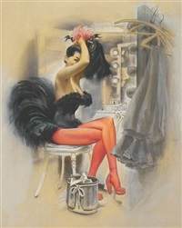 seated showgirl in dressing-room (illus. for esquire) by joseph de mers
