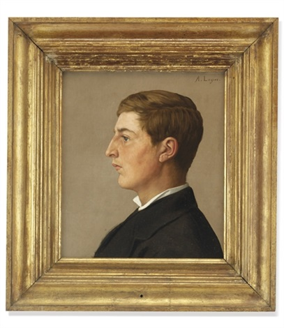 portrait of a gentleman in profile in a white shirt and black coat by alphonse legros