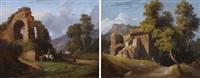 cavalli all'abbeverata e figura nel paesaggio (2 works) by giuseppe leone righini