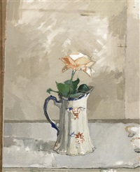 still life with rose and pitcher by euan uglow
