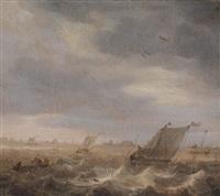 fischerboote auf bewegtem küstennahen gewässer by abraham susenier