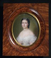 portrait de jeune femme en robe de dentelle largement décolletée et coiffée d'un chignon vers la gauche by francois meuret