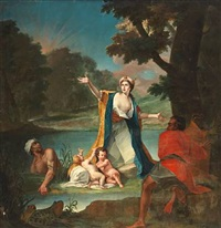 classical scene with a woman surrounded by two children at her feet, two astonished men and large frogs at the edge of a lake by claudio francesco beaumont