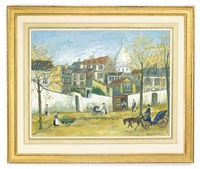 parisian street scene with sacre coeur in the distance (+ 4 others, smllr; 5 works) by jacques fabrès