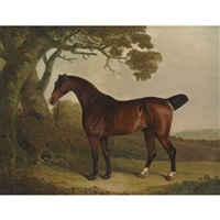 a bay horse tethered to a tree in a landscape by thomas weaver