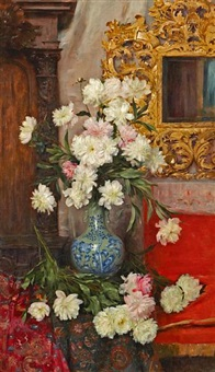 a still life of peonies in a vase by albert aublet