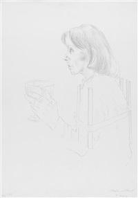 mädchen mit weinglas by maria lassnig