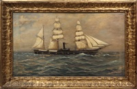 portrait of steam/sail war ship by myron clark