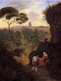 wandernes paar auf dem monte mario mit blick auf rom und die kuppel von st. peter by johann erdmann hummel