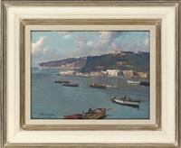 fishing boats off the italian coast by fortunato fontana
