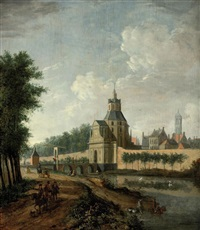 a view of utrecht with the witte vrouwenpoort by jan ten compe