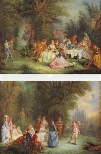 scène galante dans un parc by alexandre paul joseph veron
