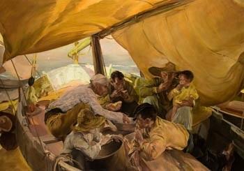 la comida en la barca by joaquin sorolla y bastida