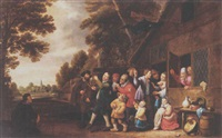 a procession of peasants leaving a coutry inn, playing musical instruments and singing by pieter nys