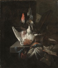 still life of a dead partridge and other birds, and implements of the chase on a draped stone ledge by william gowe ferguson