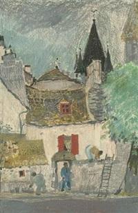 les ouvriers sur le mur à marcenat (+ fermes en limousin, pastel; 2 works) by yvonne cheffer-delouis