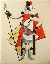 costume design, possibly for pedro della barca's the invisible lady by alexandra exter