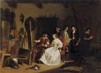 in the artist's studio: jan six visiting rembrandt in his studio by lambertus lingeman