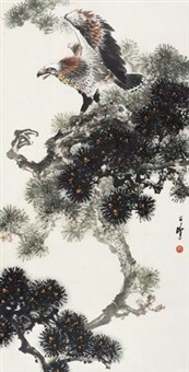 松鹰图 (pine and eagle) by liang zhanfeng