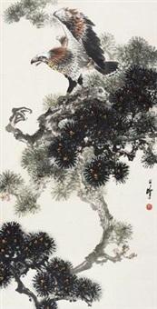 松鹰图 (pine and eagle) by liang zhanfeng