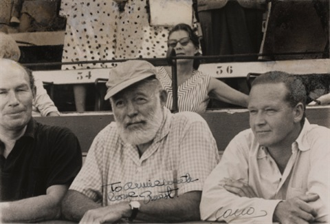 ernest hemingway portrait showing the artist seated at a bullfight by cano