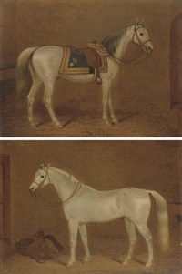 a grey hunter in a stable (+ a grey saddled hunter in a stable; 2 works) by george morley