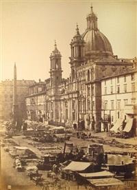 veduta di piazza navona con la chiesa di s. agnese in agone e il vecchio mercato (+ foro romano; 2 works) by tommaso cuccioni