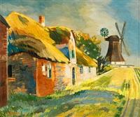 landschaft mit windmühle by kurt bunge