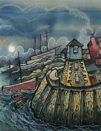 fantasy harbour scene and lighthouse by dorian spencer davies