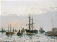 estuary scene with shipping (pair) by edward henry eugene fletcher
