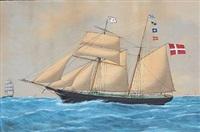 the schooner danmark af nakskov, captn. julius örsted by andreas lind