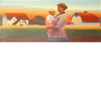 rural home with mother and child by gary ernest smith