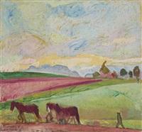 landschaft mit pferden bei der feldarbeit by cuno amiet