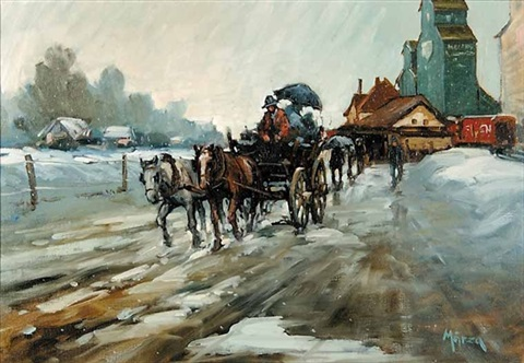 slushy day at the station by ernest marza