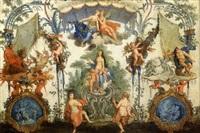 panneau à décor de grotesques les figures de léda, pluton et neptune by claude audran iii