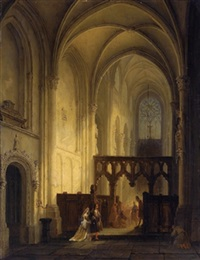 kircheninterieur mit reicher, figürlicher staffage by bernardus van de laar