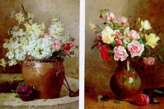 bouquet de fleurs dans un pot en cuivre by jules alexandre. Black Bedroom Furniture Sets. Home Design Ideas