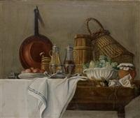 les apprêts du déjeuner avec huilier et vinaigrier, salade verte; les apprêts du déjeuner avec miche de pain, vin et radis (pair) by etienne jeaurat