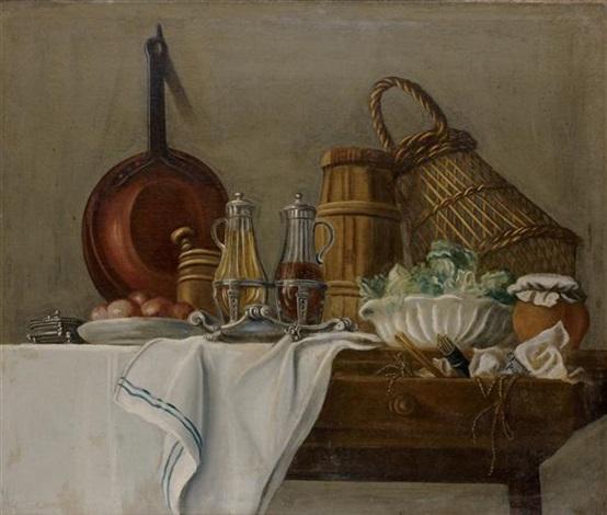 les apprêts du déjeuner avec huilier et vinaigrier salade verte les apprêts du déjeuner avec miche de pain vin et radis pair by etienne jeaurat