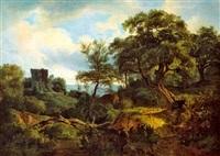 motiv aus dem wienerwald mit einer ruine (johannstein?) und einem wanderer by austrian school-vienna (19)
