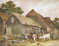 children and cattle in a farmyard by robert hills