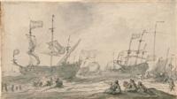 ausfahrt der schiffe bei wind by pieter coopse
