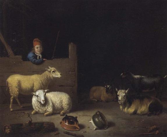 inneres eines stalls mit einem stallburschen schafen und ziegen by hubert van ravesteyn
