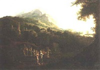 clasical landscape with figures bearing offerings by alexander runciman