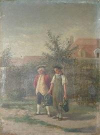 conversation au jardin by léon marie constant dansaert