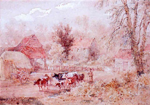 herding cattle through a village by henry sr earp