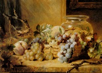 still-life of fruit and flowers and goldfish bowl by valentine bartholomew