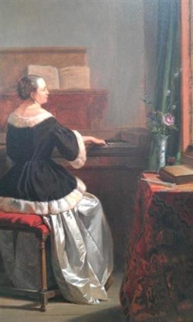 femme au clavecin dans un intérieur by hubertus van hove