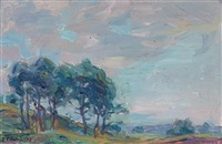 a summer landscape (+ sunset along the coast, oil on canvas; pair) by frank townsend hutchens
